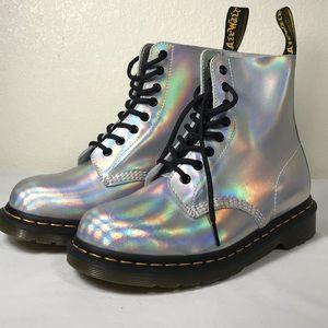 Dr. Doc marten's silver lazer rainbow boots Sz 7
